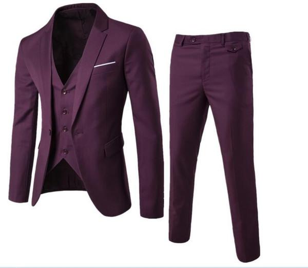 Erkek Takım Elbise Klasik Elbise Düğün Suit Tek Göğüslü Takım Erkek Iki Parçalı (Ceket + Pantolon + Yelek) erkek Slim Fit Suits