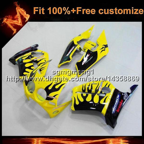 23colors + 8Gifts Spritzen schwarze Flammen + gelbe Motorradhaube für HONDA CBR250RR 1988-1989 MC19 88 89 CBR 250RR ABS Plastikverkleidung