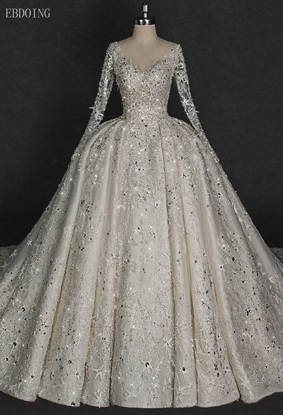 EBDOING Charming Ball Gown Wedding Dress V-neck Neckline Full Sleeve Chapel Train Plus Size Backless With Lace Star Shape Beaded Bridal Gown