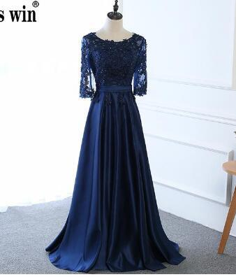 Hot Long Mother of The Bride Dresses Dark Blue Lace Embroidery Sleeved Banquet Evening Dress Robe De Soiree