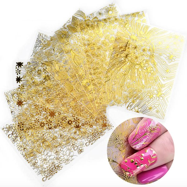 8 Pcs/Pack Gold/Silver/White/Black Embossed 3D nail art sticker Decals Metallic Blooming Flower Design Self-adhesive Decoration