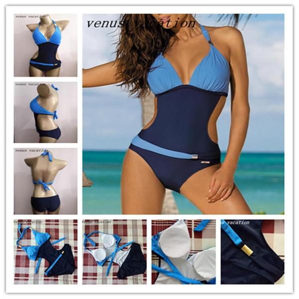 Wholesale- 2017 One Piece Swimsuit Push Up Swimwear Women Monokini Thong Cut Off Plus Size Swimwear Beachwear Hater Brazilian Bathing Suit