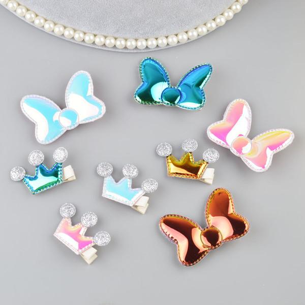 Children Cute Glile Bow Hair Clips Baby Crown Headdress Girls Hair Accessories Headwear Kids Hairpins A11
