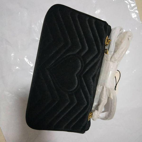 Nuevo estilo de Alta calidad 26 cm de terciopelo para mujer Moda Marca Señoras Bolsos Bolsos de hombro Mensajero Cruz Bolsas de cuerpo Bolsos de cuero de oro