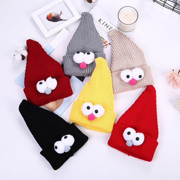 Mingjiebihuo New fashion boy girl hat autumn and winter wool cap Korean cute cartoon big eyes knit hat warm adjustable head cap