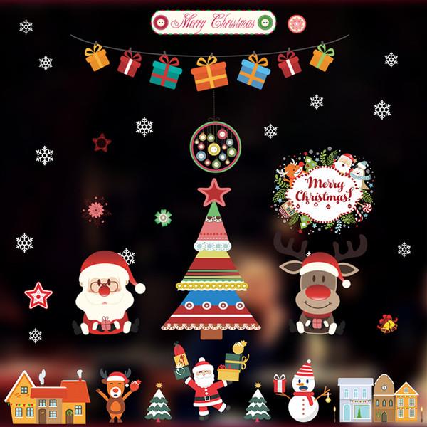 Acheter Joyeux Noël Bonhomme De Neige Renne Stickers Muraux Maison Salon Décorations Vitrine En Verre Pvc Décor Xmas Père Noël Decalshaif De 1 61 Du