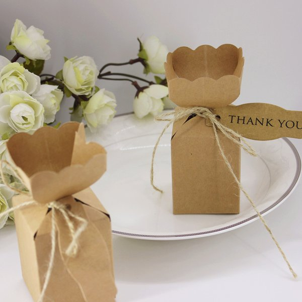 Vase Shape DIY Candy Box Gift Bag Kraft Paper Packaging Boxes with Tag & Rope Birthday Christmas Party Wedding Favor Boxes