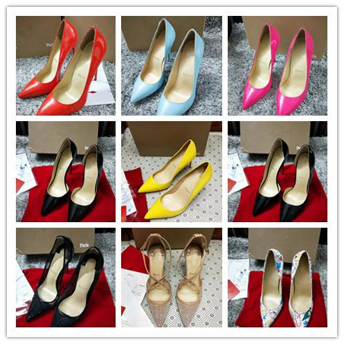 Women Red Genuine Leather Pumps Shoes Soft Bottom Pointed Toe High Heels Dress shoes Luxury Designer Wedding Bridal Loafer Sexy 34-44