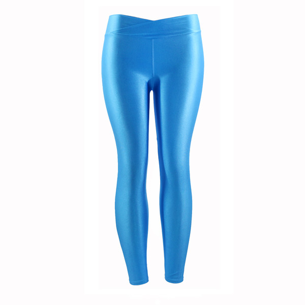 Wulekue Fluorescent Color Women Workout Leggings V-Waist Multicolor Shiny Glossy Trousers Plus Size Female Elastic Casual Pants