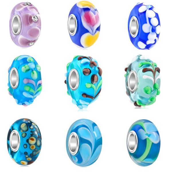 2018 nouvelle livraison gratuite européenne MOQ20pcs lac bleu violet bleu fleur coeur océan bricolage grandes filles bricolage perle fit pandora bracelet bracelet D009