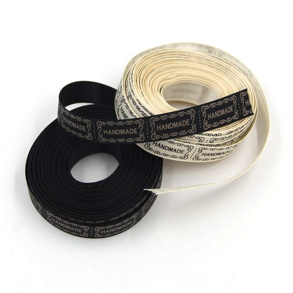 ribbons for girls hair 10Yard/Lot New 13MM Beige And Black Printed Handmade Design Ribbon For Wedding DIY Crafts Gift Packing Belt &