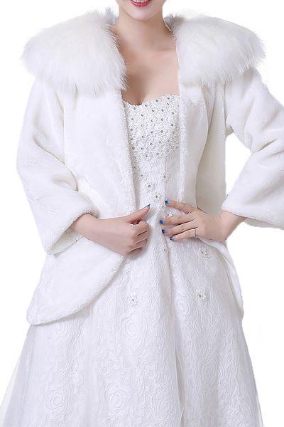 Marfil rojo 2018 barato nupcial abrigos cálido de imitación de piel capa de la boda chaqueta bolero cabo invierno mujeres abrigo encogiéndose de hombros chaleco robe de mariée CPA1494
