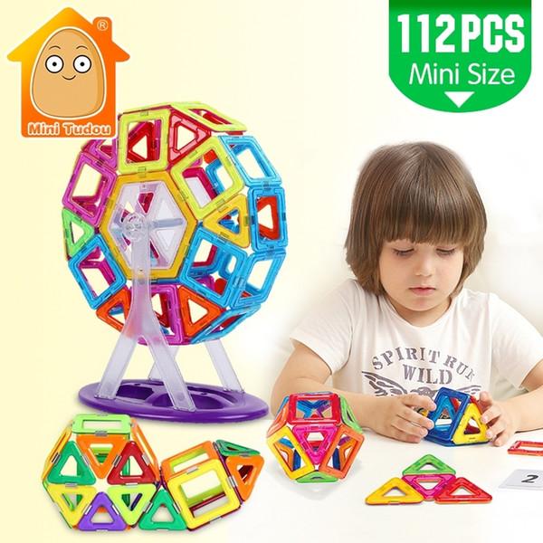 Mini 112PCS Magnetic Blocks Construction Enlighten Assembly Building Model Toys Kids Educational DIY Plastic Bricks