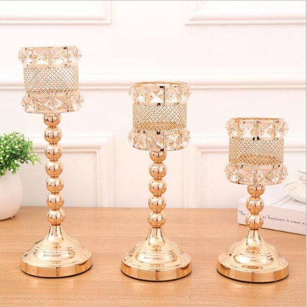 Metal Golden Candle Holders Crystals Delicate Wedding Candelabra Romantic Centerpiece For Home Decoration Candlesticks 3 size