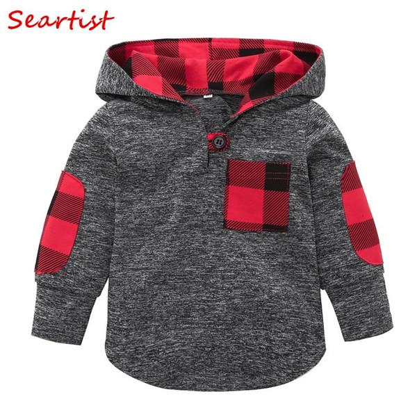 Seartist Baby Jungen Mädchen Weihnachten Hoodies Red Plaid Kapuzen T-Shirt Kinder Sweatshirt Bebes Baby Boy Kleidung Mädchen Kleidung 48C