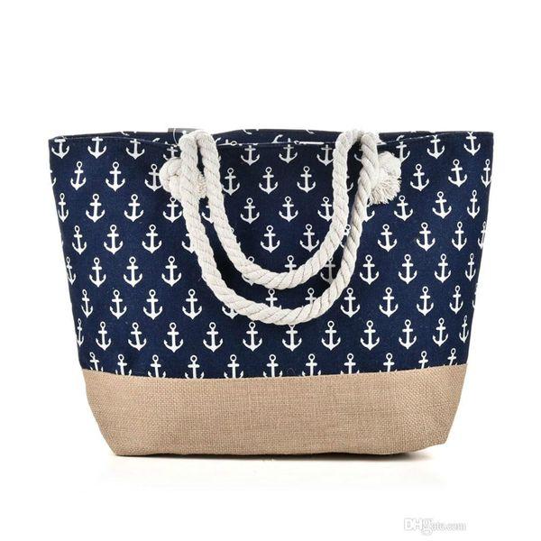 Brand designer New Anchor Beach Bag Light type Canvas Zipper Woman Handbag Ladies Sea Travel Bag Casual Totes Shoulder Bags Tote QQ2144