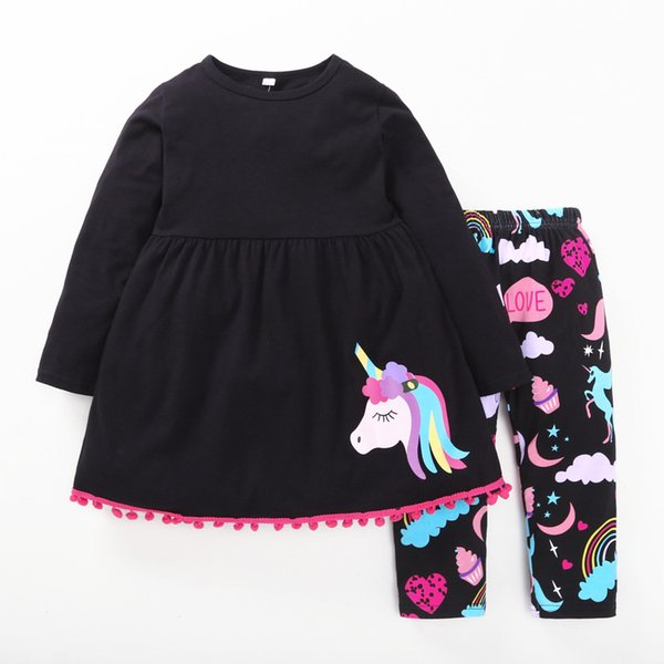 children's long sleeve outfits kids cotton bottoming leisure pony horse printed leisure suit baby girl unicorn shirt+pants 2pcs sets