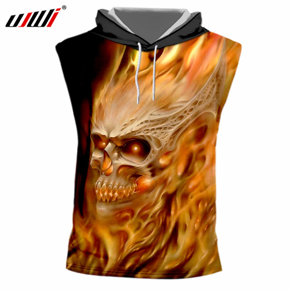 UJWI 2018 Summer Tops Casual Tshirt Print Flame Skull 3d Sleeveless T-shirt With Hood Homme Quick Dry Exercise Tee Shirts Unisex