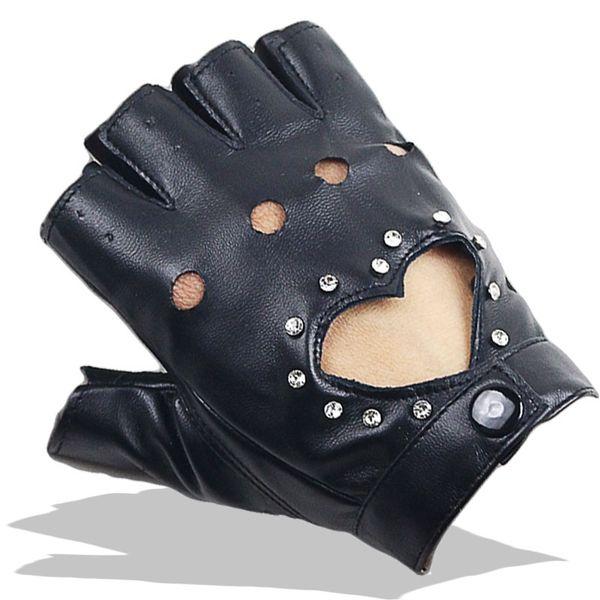 Женщины Сексуальные PU кожаные перчатки Женский ночной клуб Заклепки Punk Rock Show Половина пальца Фитнес-стрит Dance Thin Heart Gloves A80