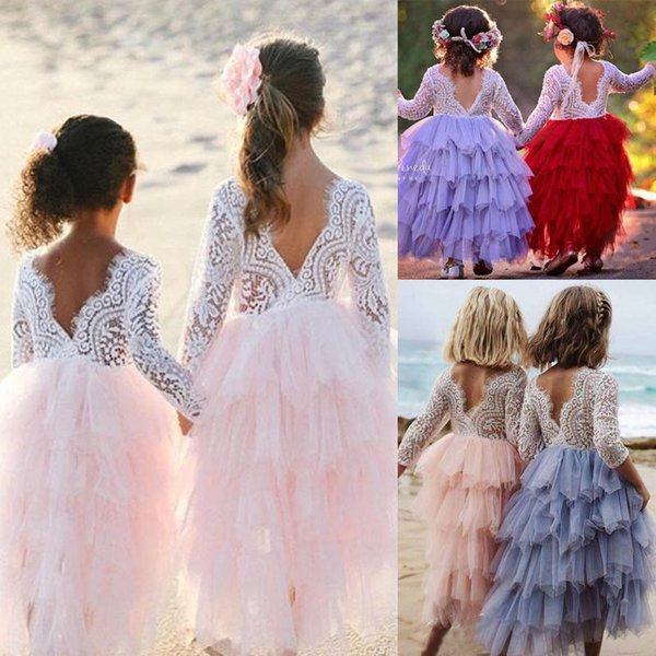 2018 Toddler Kid Baby Little Girls Crochet Layered Lace Dress Babies Party Prom Party Pageant Dresses Clothing