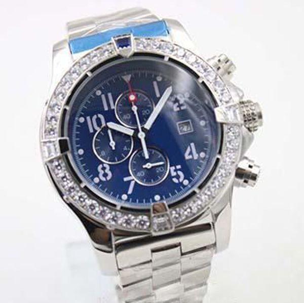 2019 nouveau mens montres Style Quartz Montres Diamant Cas Bleu Grand Cadran En Acier Inoxydable Mâle 1884 Horloge Montre Homme montres