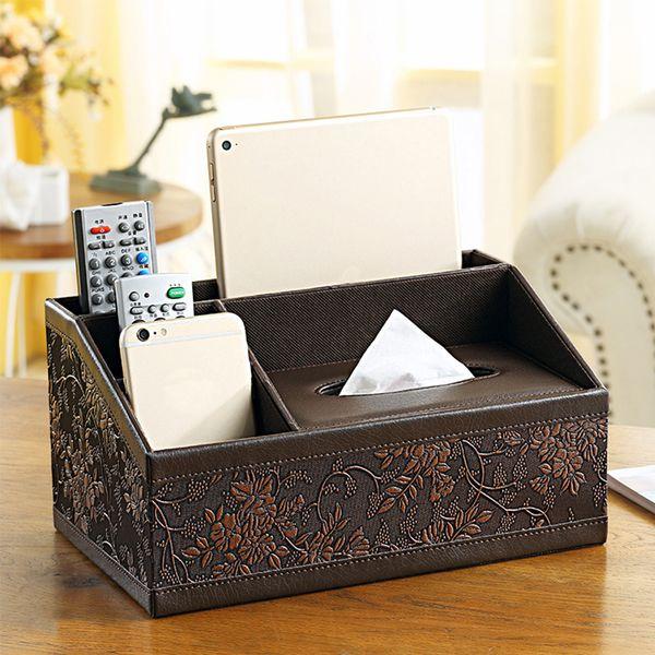yazi Classic PU Leather Multifunction Tissue Storage Box Pen Remote Desk Organizer Paper Towel Napkin Holder Dispenser