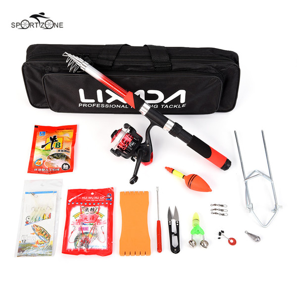 Lixada 2.1m Fishing Rod Reel Combo Full Kits Spinning Reel Pole Set With Lure Swivel Tool Set In Bag Case Fishing Tackle Pesca