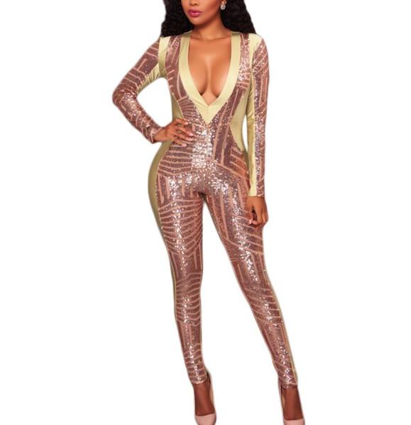 En çok satan seksi moda suit Payetli dikiş perspektif ince tulum seti Tulum