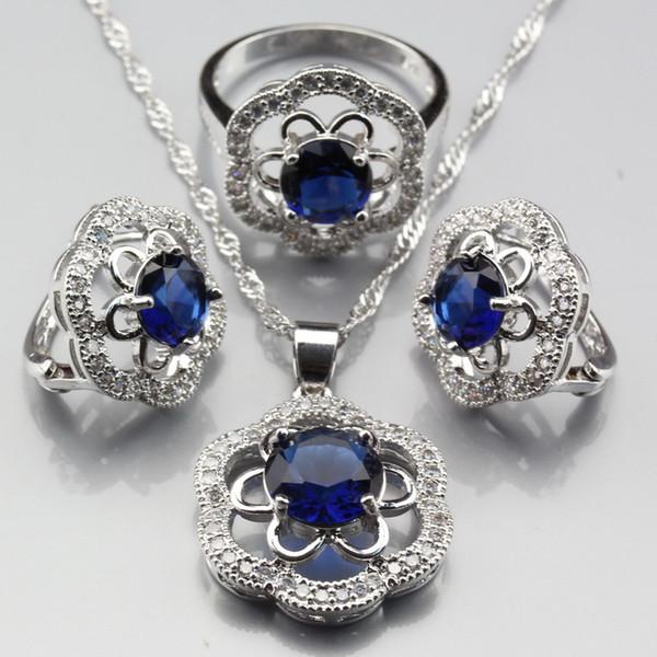 Manny bibelots ensembles de bijoux de mode classique pour les femmes argent couleur fleur bleu bague en zircon taille 6/7/8/9/10 JS398