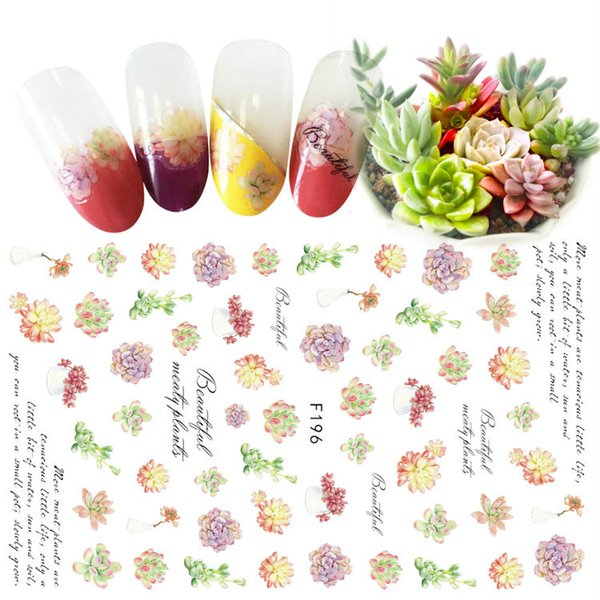 Wholesale Unique Design Leaf Succulent Plant Nail Sticker Christmas Super Cute Flowers Nail Tattoo Xmas Nail Art Wrap Holloween