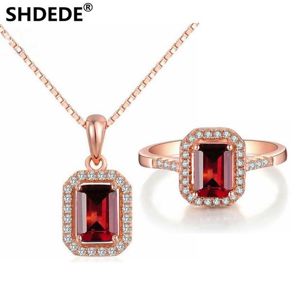 SHDEDE 925 pure color jóias de prata natural Princesa quadrado Garnet Pingente de Colar de Jóias Anel Set 18 K ouro rosa