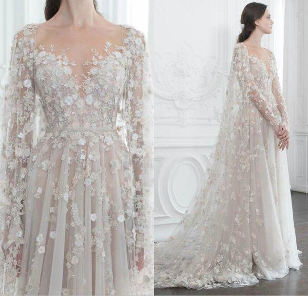 Hand Made Flowers Dresses With Shawl Sequins Long Sleeve Deep V Sheer Neck A Line Polo Sebastian Art Deco-inspired Evening Dresses
