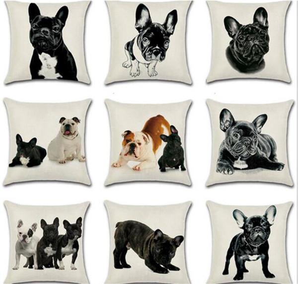 50 unids 9 estilos bulldog francés perro funda de almohada funda de cojín de lino de algodón fundas de almohada sofá cama almohada cubre C172