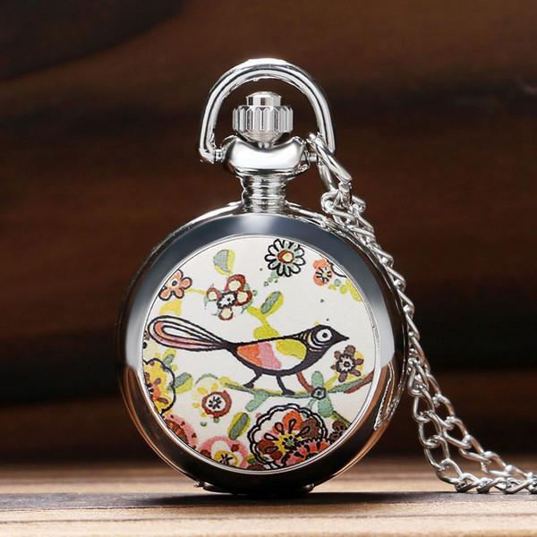 Lucky Colorido Pintura Dibujo Lindo Pájaro Pequeño Tamaño Reloj de Bolsillo de Cuarzo Para Mujer Lady Girl Hermoso Collar Colgante Chian Regalos