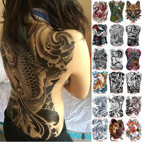 48*35 cm large tattoo stickers new designs fish wolf buddha waterproof temporary flash tattoos full back chest body for men