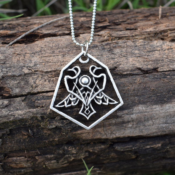 Odin' Ravens Pendant Necklace Norse Mythology hexagon Huginn And Muninn Or Thought And Memory Amulet Talisman Necklaces 12pcs