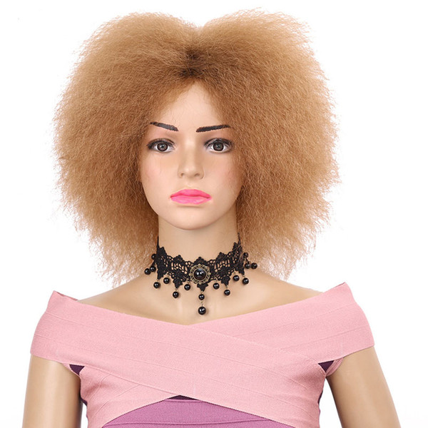Pelucas rizadas afro de alta calidad baratas 27 # / negro / 99J pelucas onduladas rizadas cortas resistentes al calor pelucas sintéticas para las mujeres negras
