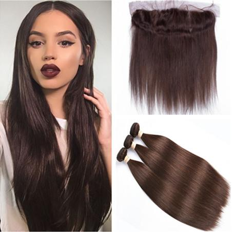 2019 4 Dark Brown Peruvian Human Hair Silky Straight Weave Bundles With Frontal Chocolate Brown Hair Wefts With 13x4 Full Lace Frontal Closure From