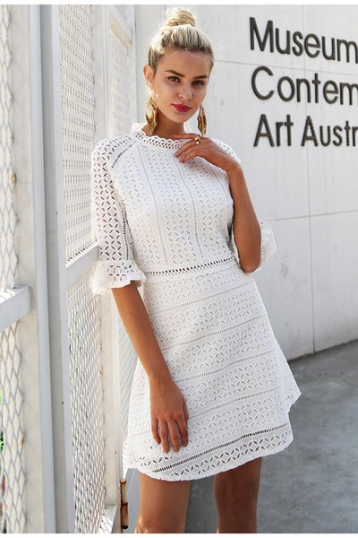 Elegant hollow out lace dress women Half sleeve summer style midi white dress 2018 Spring short casual dress vestidos