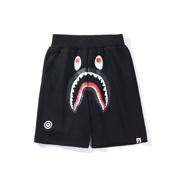 top popular Famous Brand Ape Beach shorts Cartoon Printed Shark head WGM Off Men Women Leisure pants White for Summer free shipping 2019