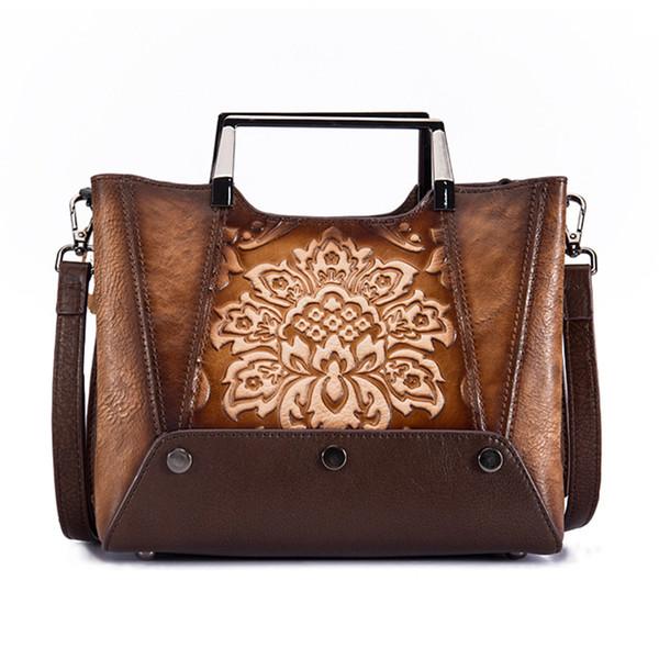 Genuine Leather Top Handle Women Bag National Style New Retro Tote Handbag Cowhide Cross Body Embossed Messenger Shoulder Bag