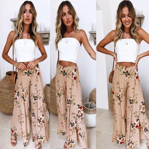 2018 Spring Womens Flower Printed Loose Pants Wide Leg Culottes Pants Trousers Ladies Women Floral Loose Pant