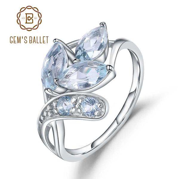Gem балет стерлингового серебра 925 сверкающие листья серебряное кольцо 2.4 Ct природный голубой топаз драгоценный камень кольцо для женщин ювелирные изделия