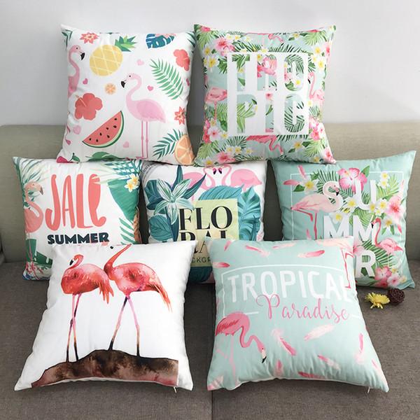 New Multicolor 6 Designs Pillowcase Hot Cotton Soft flannel Cartoon Flamingo Series Pillow Case Sofa Cushion Cover Car Lumbar Pillow Cover