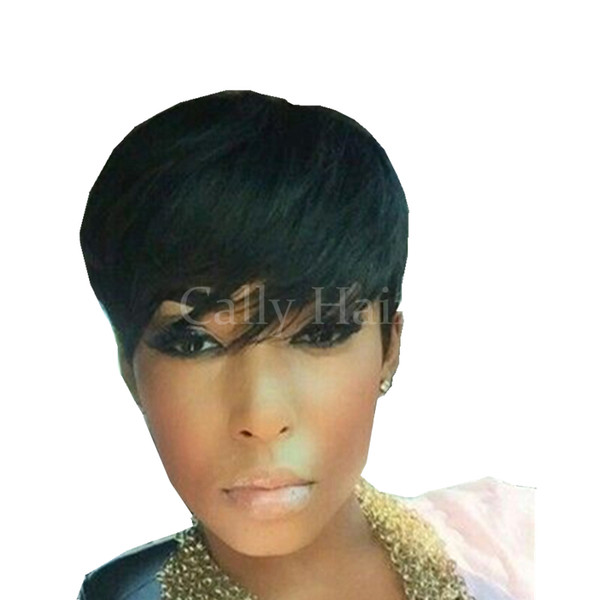 PIXIE cut human hair wig Peruvian hair machine made none lace short wig natural black for black woman