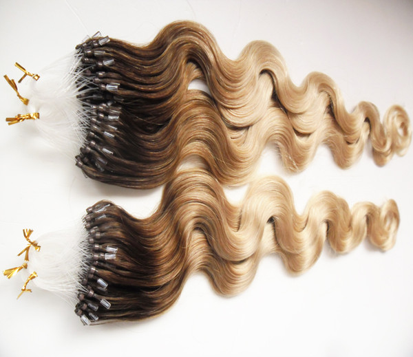 """T4/613 Loop Micro Ring Machine Made Remy Hair Extension 100% Human Hair body wave Ombre Piano Color Micro Links 10""""-26"""" 1g/s 200g"""