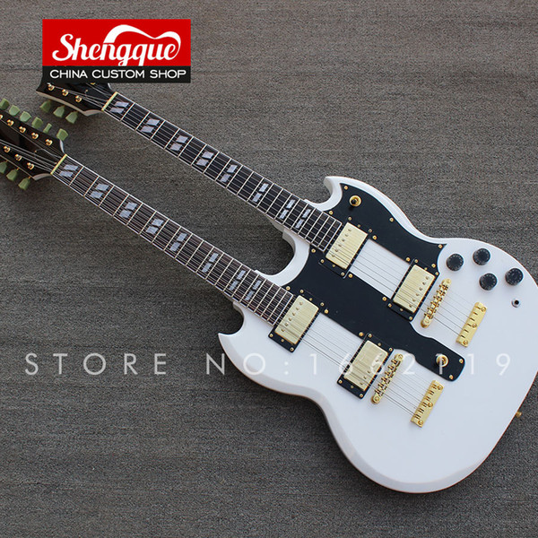 Factory custom double neck SG electric guitar 12 / 6 strings sg guitars double headstock mahogany body musical instrument shop