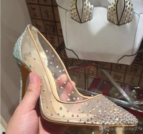 2018 nuevos estilos de verano de primavera Elegante zapatos de mujer Rhinestone tacones altos cristales punta estrecha malla Bombas zapatos de boda de la mujer