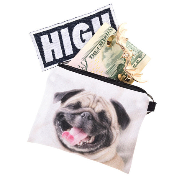 3D girl wallet bag ladies face zipper mini coin purses dog children's purse bolsa de moeda coins pouch monedero gato
