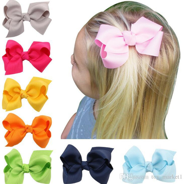 100 pcs hot sale Korean 3 INCH Grosgrain Ribbon Hairbows Baby Girl Accessories With Clip Boutique Hair Bows Hairpins Hair ties HD3201